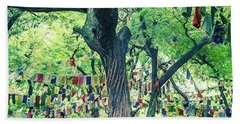 The Monk Among The Prayer Flags Hand Towel