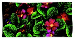 Hand Towel featuring the digital art The Moody Primrose by Steve Taylor