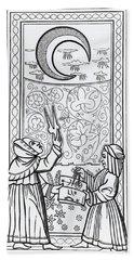 The Moon  Tarot Card Bath Towel