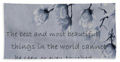 Bath Towel featuring the mixed media The Most Beautiful Things In The World by Movie Poster Prints