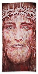 Bath Towel featuring the painting The Most Loved Jesus Christ by AmaS Art
