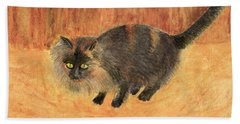 The Mouser, Barn Cat Watercolor Hand Towel