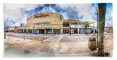 The Myrtle Beach Pavilion - Watercolor Bath Towel