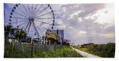 The Myrtle Beach, South Carolina Skywheel At Sunrise. Bath Towel