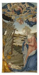 The Nativity With God The Father Surrounded By Angels And Cherubim Hand Towel