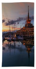 the nautical station and the yacht on the main sea channel of the Sochi seaport Bath Towel