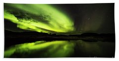 The Northern Lights Thingvellir Bath Towel by Gunnar Orn Arnason