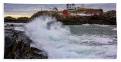 The Nubble After A Storm Bath Towel by Rick Berk
