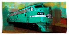 Bath Towel featuring the painting Flash II  The Ny Central 4083  Train  by Iconic Images Art Gallery David Pucciarelli