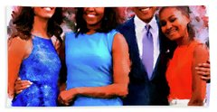 The Obama Family Hand Towel by Ted Azriel