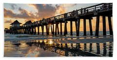 Naples Pier At Sunset Naples Florida Ripples Hand Towel