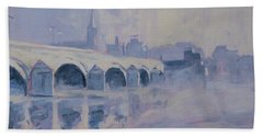 Bath Towel featuring the painting The Old Bridge Of Maastricht In Morning Fog by Nop Briex