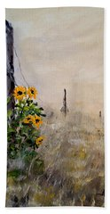 Bath Towel featuring the painting The Old Fence by Alan Lakin