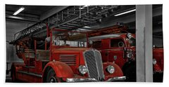 The Old Fire Trucks Bath Towel