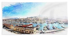 The Old Port Of Marseille  2 Bath Towel
