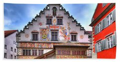 the old townhall on the island of Lindau at the Lake Constance Hand Towel