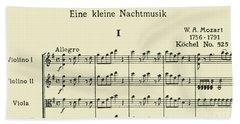 The Opening Five Bars Of Eine Kleine Nachtmusik By Mozart Bath Towel
