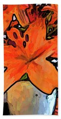 The Orange Lilies In The Mother Of Pearl Vase Hand Towel