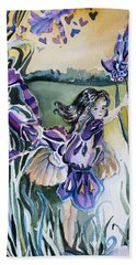Hand Towel featuring the painting The Orchid Fairy by Mindy Newman