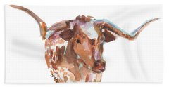 The Original Longhorn Standing Earth Quack Watercolor Painting By Kmcelwaine Bath Towel by Kathleen McElwaine