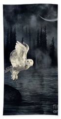The Owl And Her Mystical Moon Hand Towel by Heather King