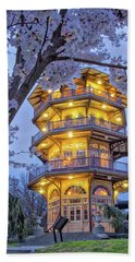 Bath Towel featuring the photograph The Pagoda In Spring At Blue Hour by Mark Dodd
