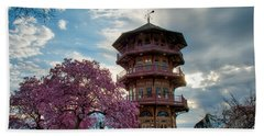 The Pagoda In Spring Bath Towel by Mark Dodd