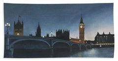 The Palace Of Westminster London Oil On Canvas Bath Towel