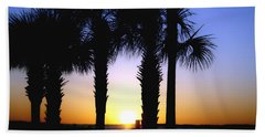 The Palms At Sunset Hand Towel by Debra Forand