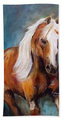 Bath Towel featuring the painting The Palomino by Barbie Batson