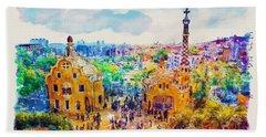 Park Guell Barcelona Bath Towel by Marian Voicu