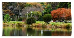 Hand Towel featuring the photograph The Park by Judy Wolinsky