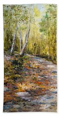 Bath Towel featuring the painting The Path by Alan Lakin