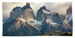 The Peaks At Sunrise Hand Towel by Andrew Matwijec