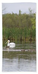 Hand Towel featuring the photograph The Pelican And The Ducklings by Alyce Taylor