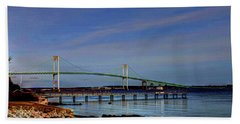Hand Towel featuring the photograph The Pell Bridge Newport Ri by Tom Prendergast
