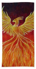 Bath Towel featuring the painting The Phoenix by Teresa Wing