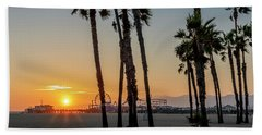 The Pier At Sunset - Square Bath Towel