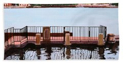 Hand Towel featuring the painting The Pier by M Diane Bonaparte