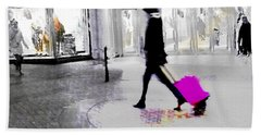 Bath Towel featuring the photograph The Pink Bag by LemonArt Photography