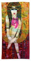 The Pink Cat Angel Hand Towel