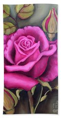 Bath Towel featuring the painting The Pink Rose by Inese Poga