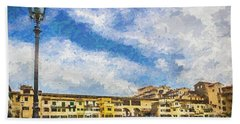 Hand Towel featuring the photograph The Ponte Vecchio Bridge by Wade Brooks