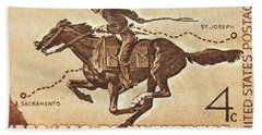 The Pony Express Centennial Stamp Hand Towel