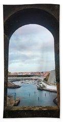 The Port Of Angra Do Heroismo From A Window In Forte De Sao Sebastiao Hand Towel