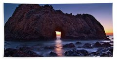 The Portal - Sunset On Arch Rock In Pfeiffer Beach Big Sur In California. Hand Towel