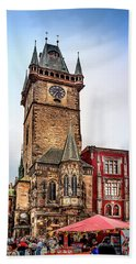 The Prague Clock Tower Bath Towel