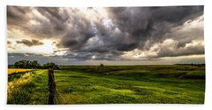 The Prairie - Golden Sunlight Drenches Nebraska Landscape Bath Towel