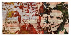 The Presidents Past Recycled Vintage License Plate Art Collage Hand Towel