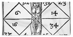The Proportions Of Man And Their Occult Numbers From De Occulta Philosophia Libri IIi Hand Towel